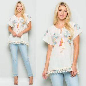 KHLOE Embroidered  Top - CREAM